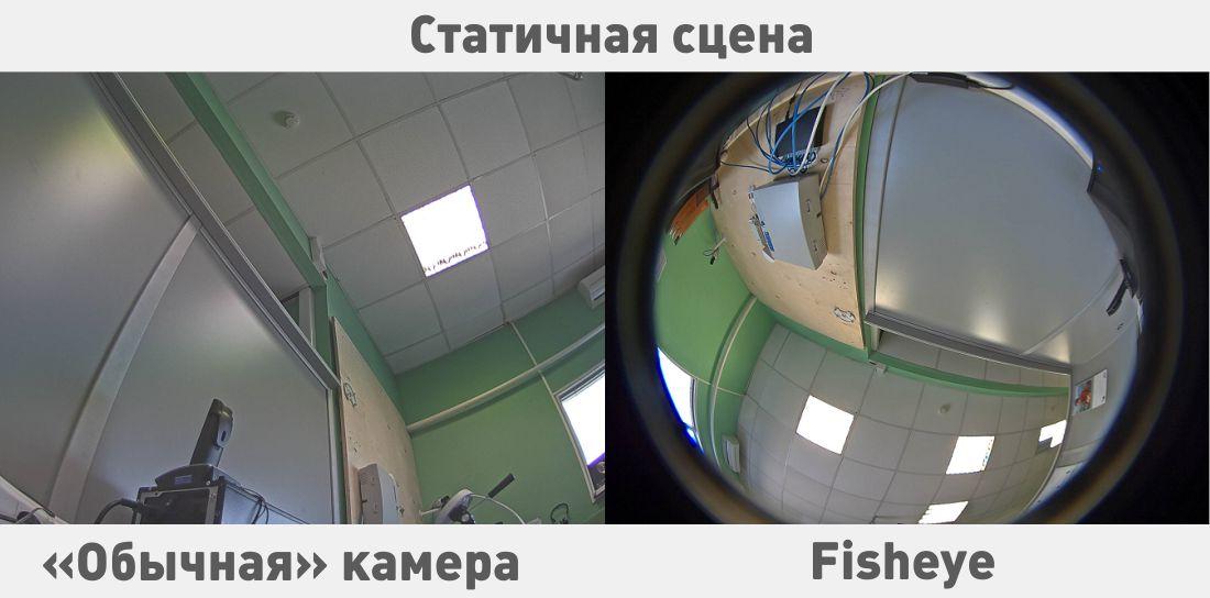 Потоки с «обычной» и «фишай» камер на статической сцене