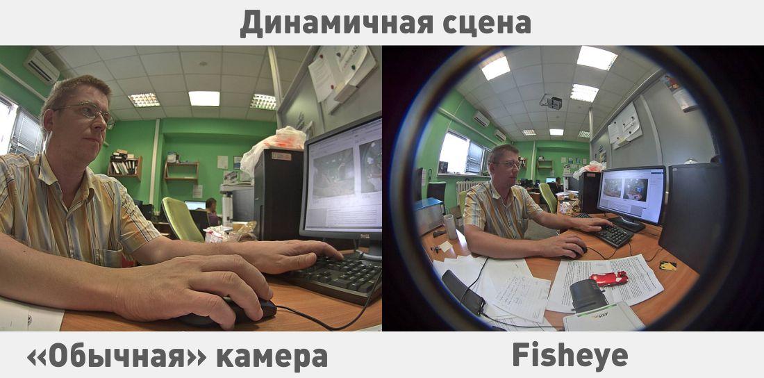 Пример динамической сцены и сравнение потоков «обычной» и «фишай»-камеры