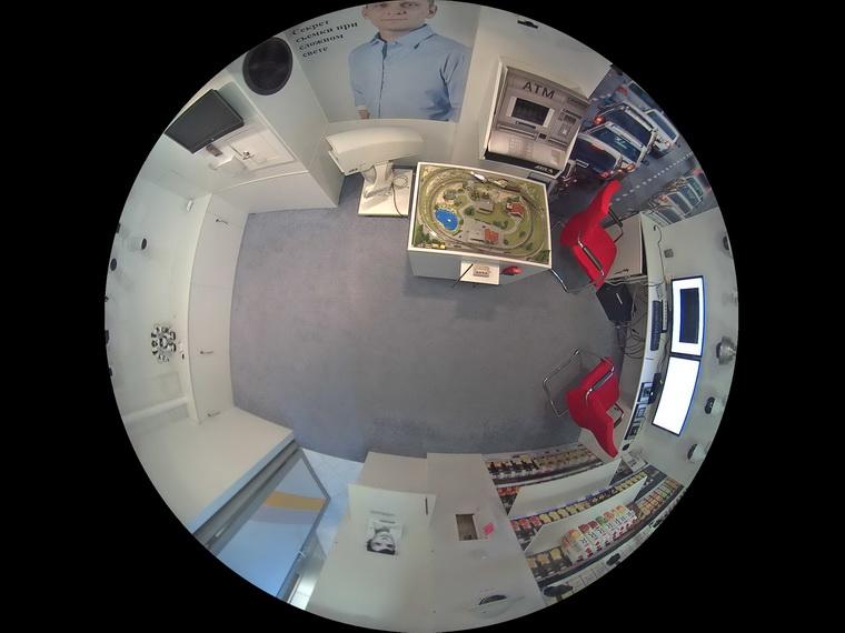 Наблюдение с камеры типа «фишай», установленной на потолке