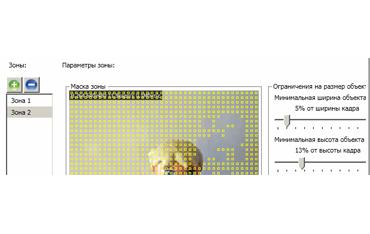 Возможности настройки параметров детектора движения в ПО Macroscop